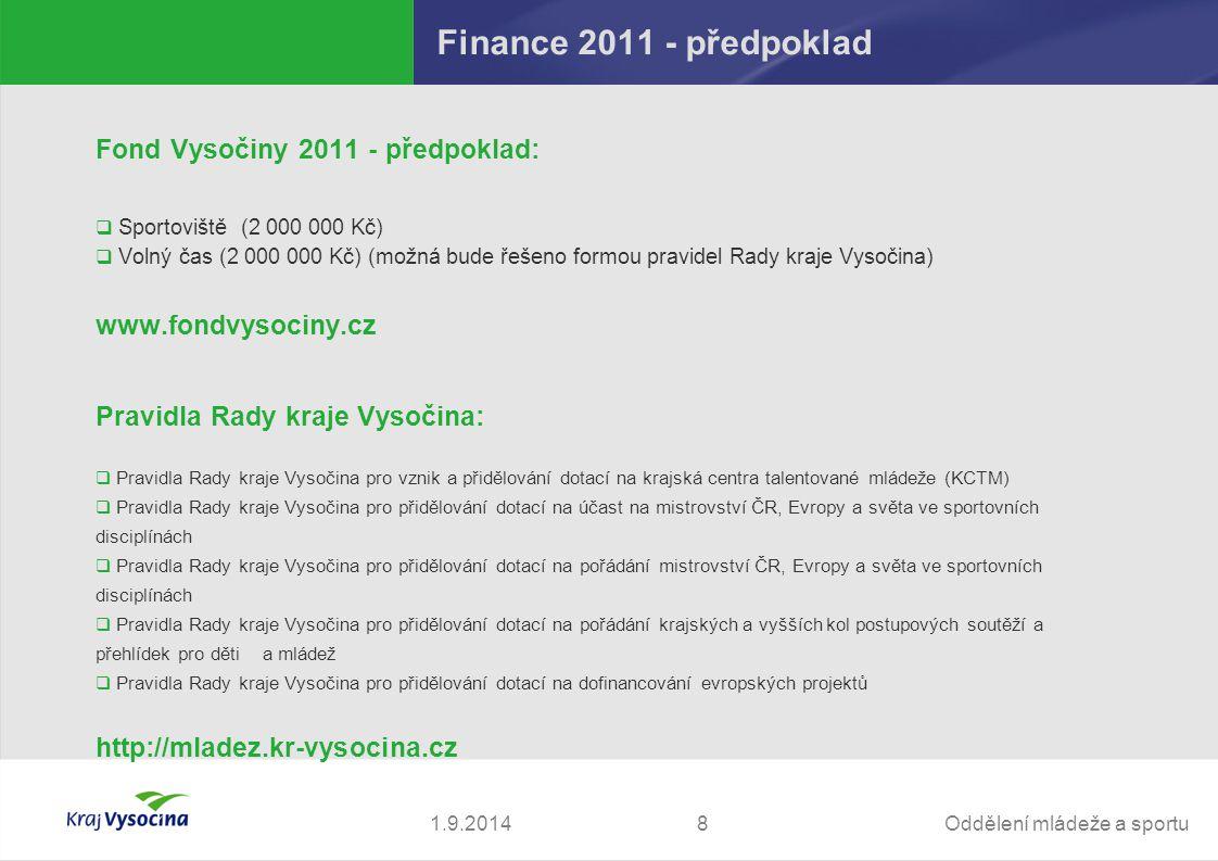 Oddělení mládeže a sportu81.9.2014 Finance 2011 - předpoklad Fond Vysočiny 2011 - předpoklad:  Sportoviště(2 000 000 Kč)  Volný čas (2 000 000 Kč) (