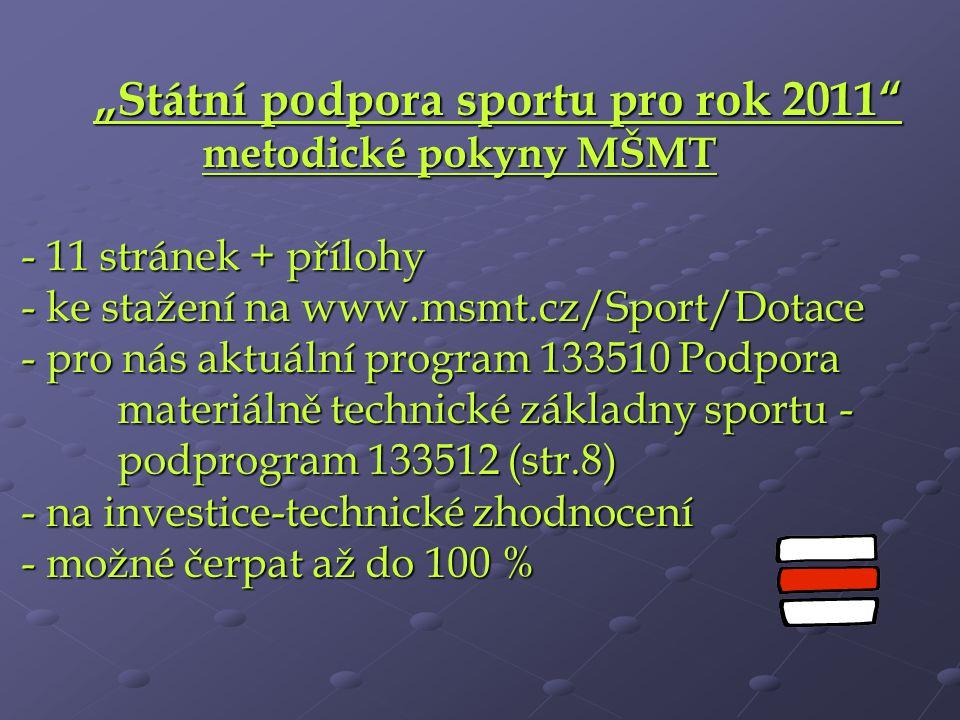 """""""Státní podpora sportu pro rok 2011"""" metodické pokyny MŠMT - 11 stránek + přílohy - ke stažení na www.msmt.cz/Sport/Dotace - pro nás aktuální program"""