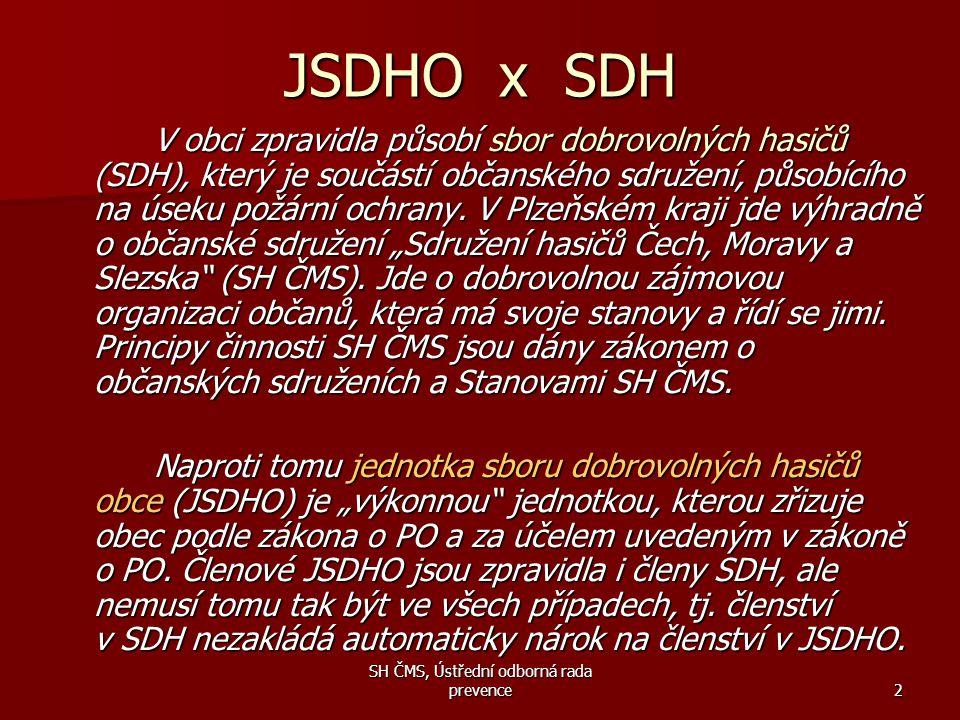 SH ČMS, Ústřední odborná rada prevence2 JSDHO x SDH V obci zpravidla působí sbor dobrovolných hasičů (SDH), který je součástí občanského sdružení, půs