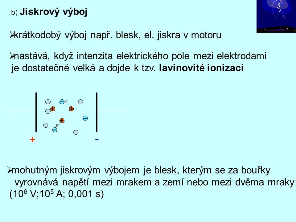 b) Jiskrový výboj  nastává, když intenzita elektrického pole mezi elektrodami je dostatečné velká a dojde k tzv. lavinovité ionizaci  krátkodobý výb