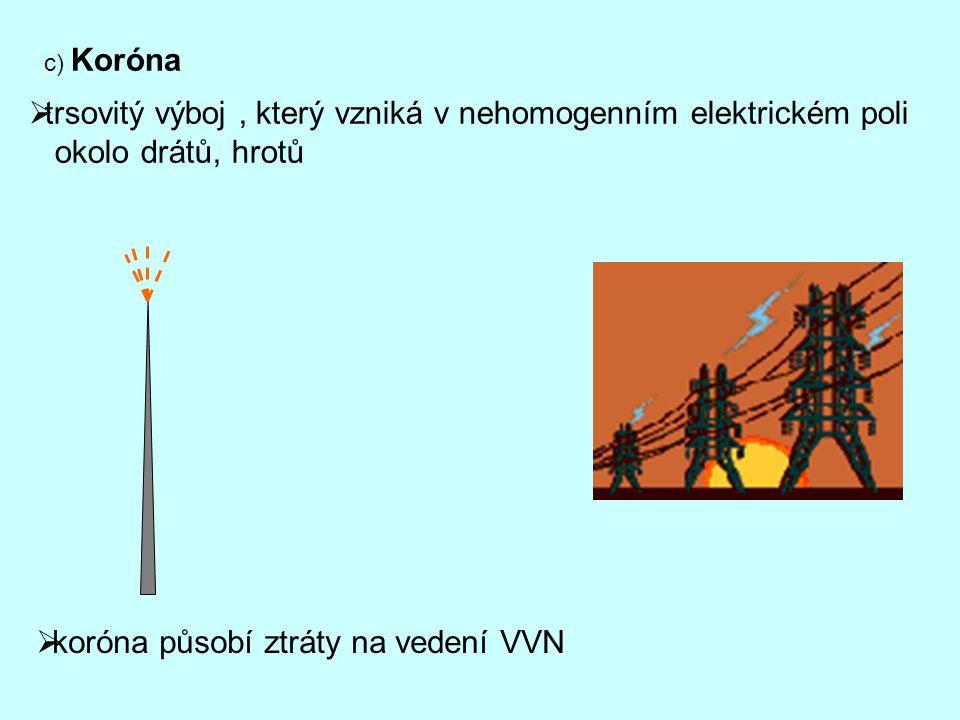 c) Koróna  trsovitý výboj, který vzniká v nehomogenním elektrickém poli okolo drátů, hrotů  koróna působí ztráty na vedení VVN