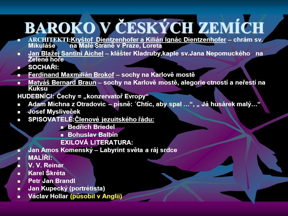 BAROKO V ČESKÝCH ZEMÍCH ARCHITEKTI: ARCHITEKTI: Kryštof Dientzenhofer a Kilián Ignác Dientzenhofer – chrám sv. Mikuláše na Malé Straně v Praze, Loreta
