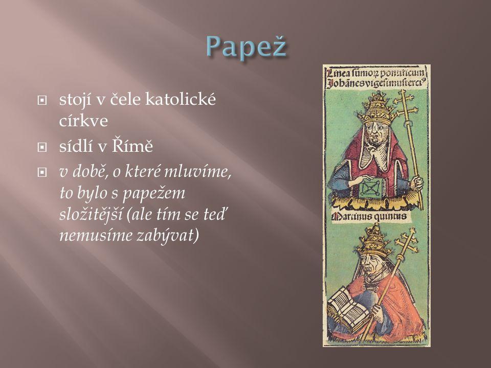  stojí v čele katolické církve  sídlí v Římě  v době, o které mluvíme, to bylo s papežem složitější (ale tím se teď nemusíme zabývat)