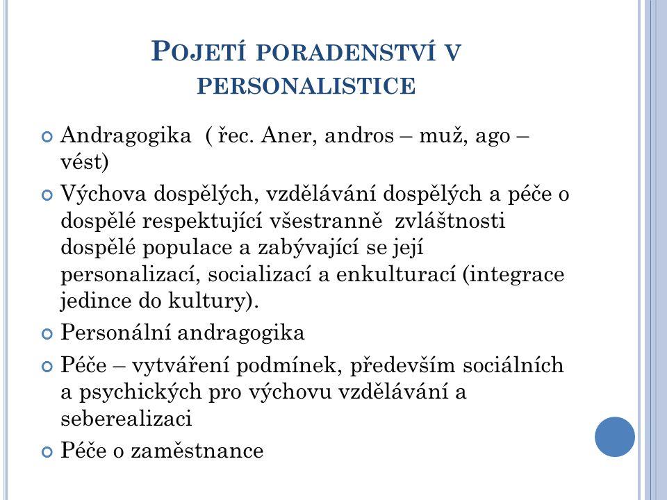 P OJETÍ PORADENSTVÍ V PERSONALISTICE Andragogika ( řec.