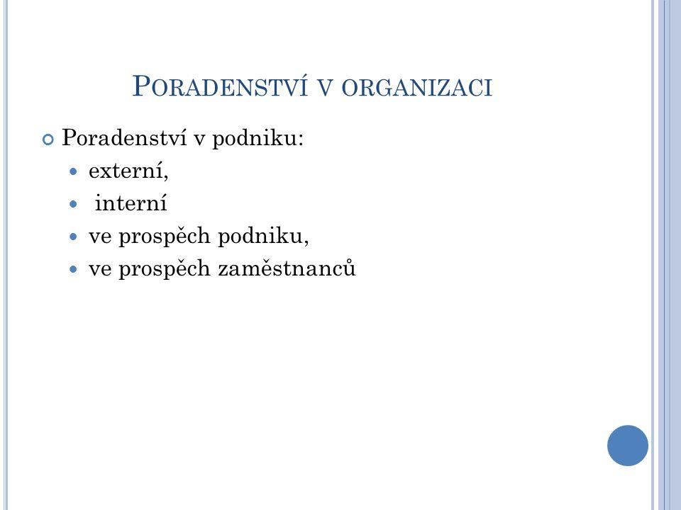 P ORADENSTVÍ V ORGANIZACI Poradenství v podniku: externí, interní ve prospěch podniku, ve prospěch zaměstnanců