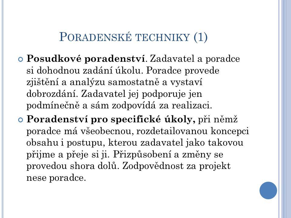 P ORADENSKÉ TECHNIKY (1) Posudkové poradenství. Zadavatel a poradce si dohodnou zadání úkolu.