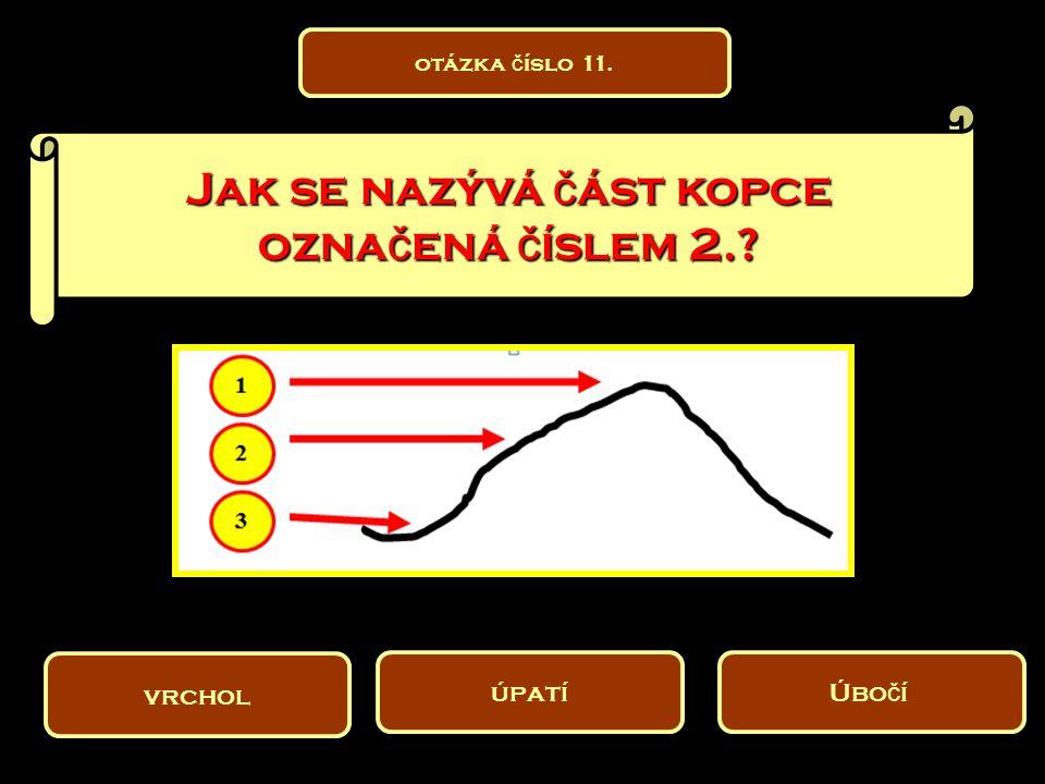 Jak se nazývá č ást kopce ozna č ená č íslem 2.? vrchol Úbo č í úpatí otázka č íslo 11.