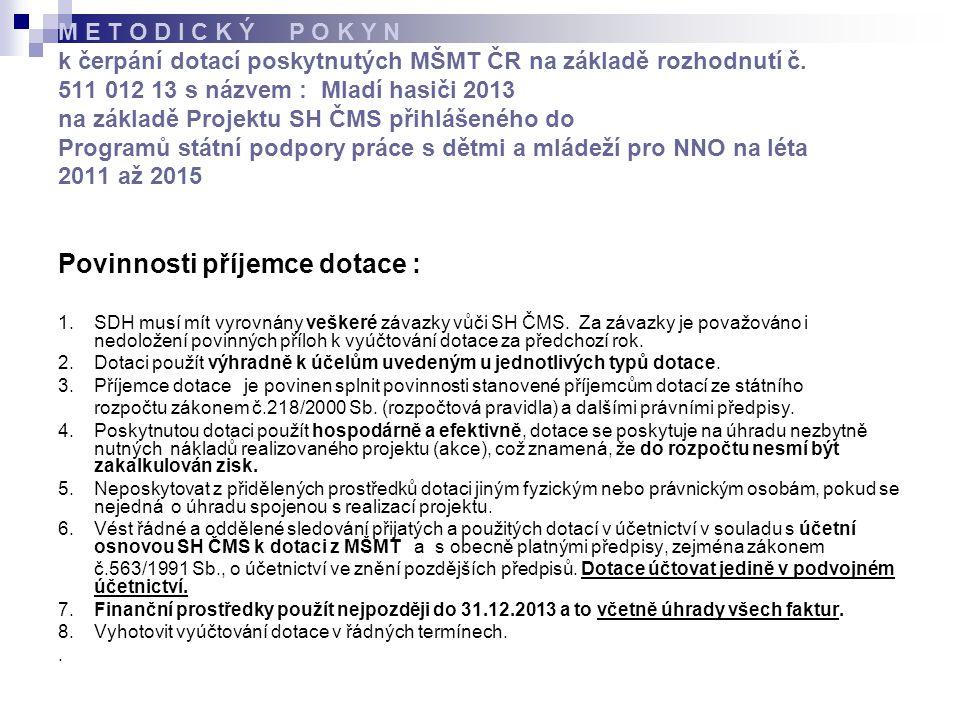 M E T O D I C K Ý P O K Y N k čerpání dotací poskytnutých MŠMT ČR na základě rozhodnutí č.