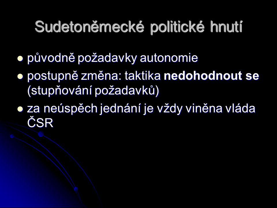 Sudetoněmecké politické hnutí původně požadavky autonomie původně požadavky autonomie postupně změna: taktika nedohodnout se (stupňování požadavků) postupně změna: taktika nedohodnout se (stupňování požadavků) za neúspěch jednání je vždy viněna vláda ČSR za neúspěch jednání je vždy viněna vláda ČSR