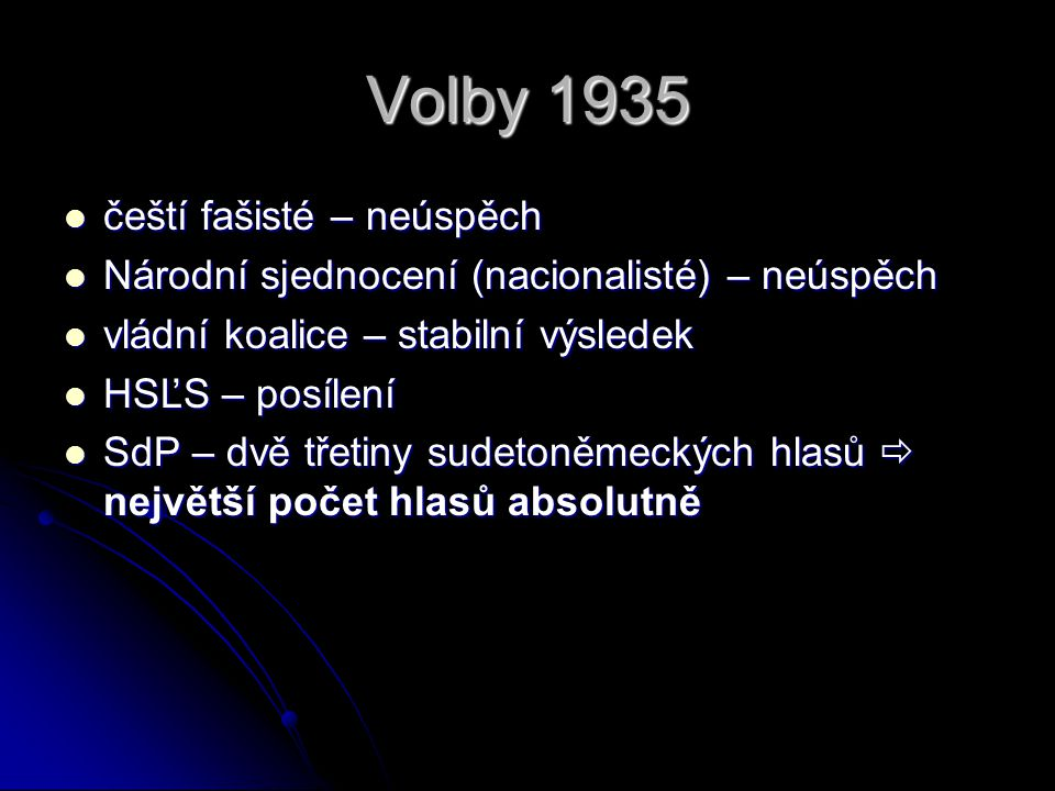 Volby 1935 čeští fašisté – neúspěch čeští fašisté – neúspěch Národní sjednocení (nacionalisté) – neúspěch Národní sjednocení (nacionalisté) – neúspěch vládní koalice – stabilní výsledek vládní koalice – stabilní výsledek HSĽS – posílení HSĽS – posílení SdP – dvě třetiny sudetoněmeckých hlasů  největší počet hlasů absolutně SdP – dvě třetiny sudetoněmeckých hlasů  největší počet hlasů absolutně