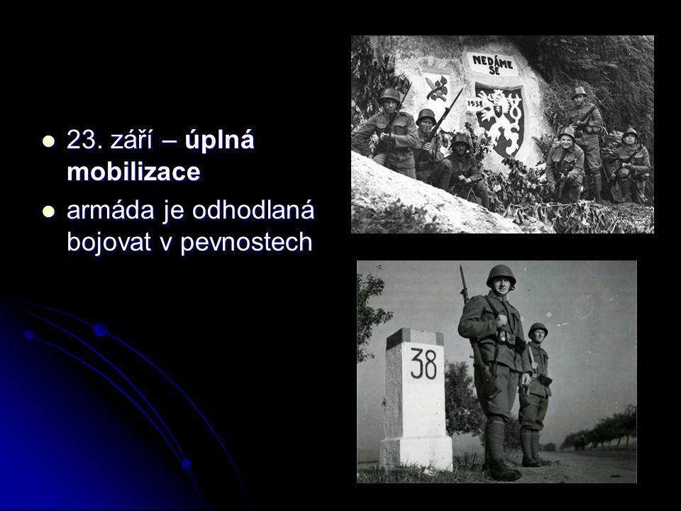 23. září – úplná mobilizace 23. září – úplná mobilizace armáda je odhodlaná bojovat v pevnostech armáda je odhodlaná bojovat v pevnostech