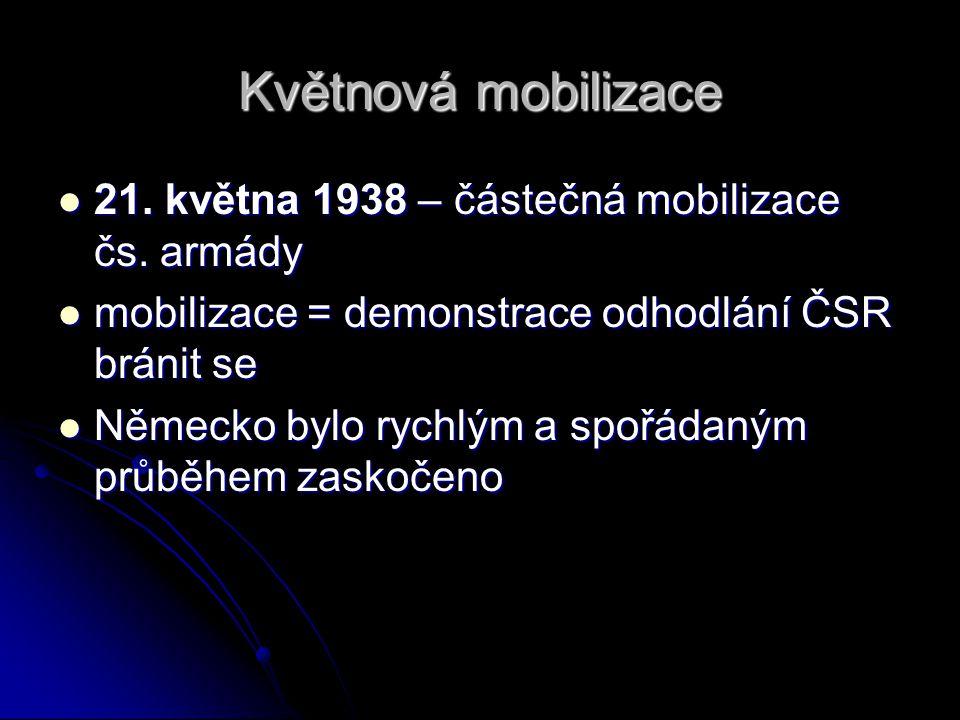 Květnová mobilizace 21. května 1938 – částečná mobilizace čs. armády 21. května 1938 – částečná mobilizace čs. armády mobilizace = demonstrace odhodlá
