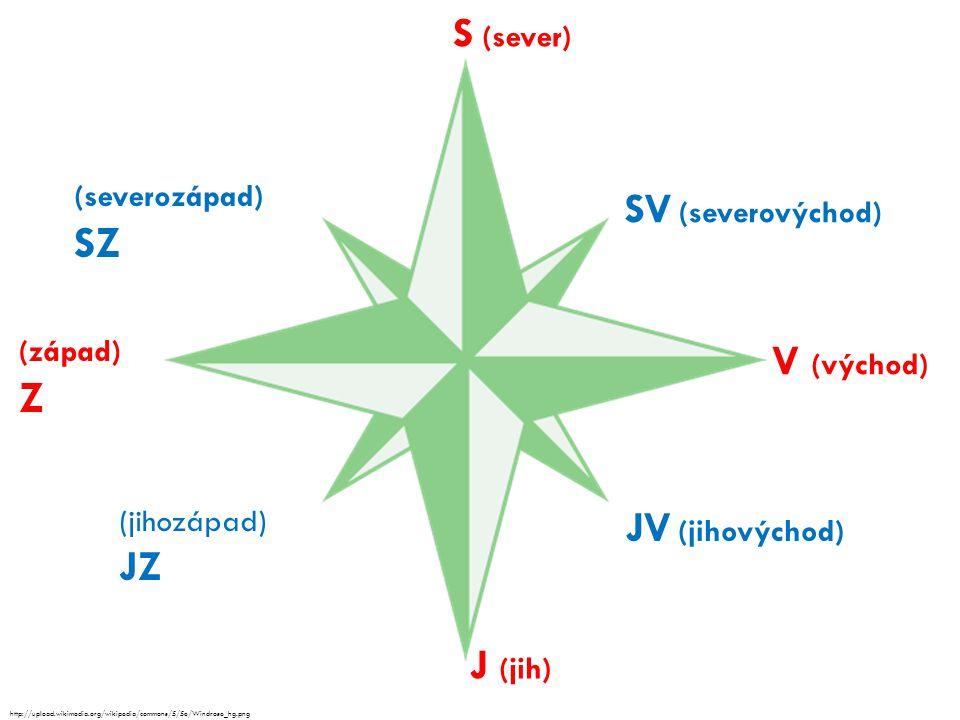 S (sever) V (východ) J (jih) (západ) Z SV (severovýchod) JV (jihovýchod) (jihozápad) JZ (severozápad) SZ http://upload.wikimedia.org/wikipedia/commons