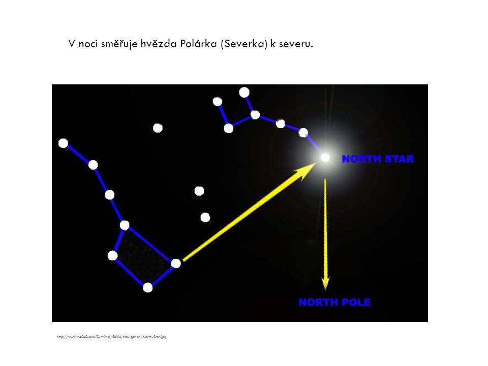 V noci směřuje hvězda Polárka (Severka) k severu. http://www.m4040.com/Survival/Skills/Navigation/North-Star.jpg