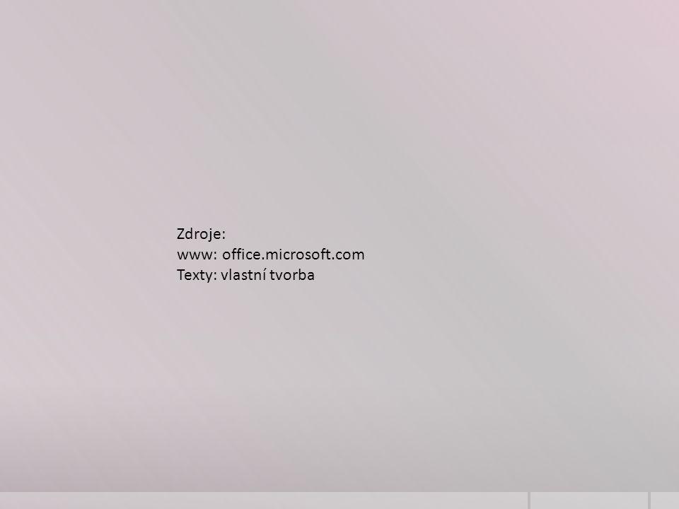 Zdroje: www: office.microsoft.com Texty: vlastní tvorba