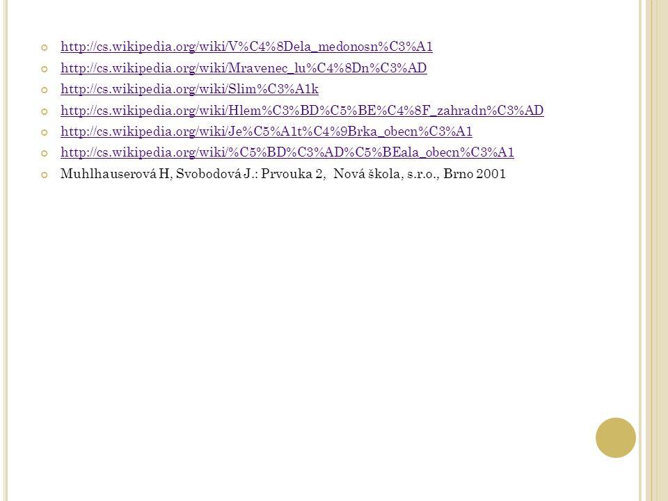 http://cs.wikipedia.org/wiki/V%C4%8Dela_medonosn%C3%A1 http://cs.wikipedia.org/wiki/Mravenec_lu%C4%8Dn%C3%AD http://cs.wikipedia.org/wiki/Slim%C3%A1k