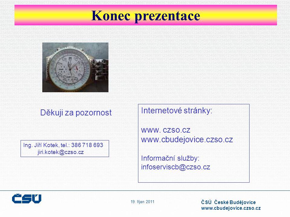 19. říjen 2011 ČSÚ České Budějovice www.cbudejovice.czso.cz Konec prezentace Děkuji za pozornost Internetové stránky: www. czso.cz www.cbudejovice.czs