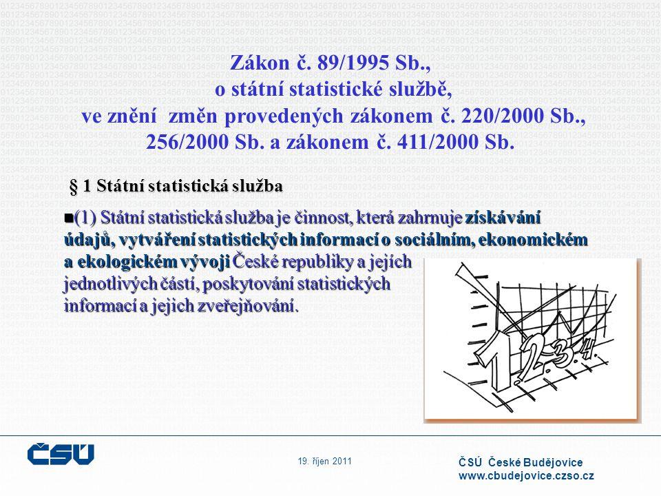 19. říjen 2011 ČSÚ České Budějovice www.cbudejovice.czso.cz Zákon č. 89/1995 Sb., o státní statistické službě, ve znění změn provedených zákonem č. 22