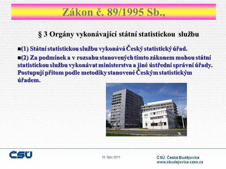 19. říjen 2011 ČSÚ České Budějovice www.cbudejovice.czso.cz § 3 Orgány vykonávající státní statistickou službu (1) Státní statistickou službu vykonává