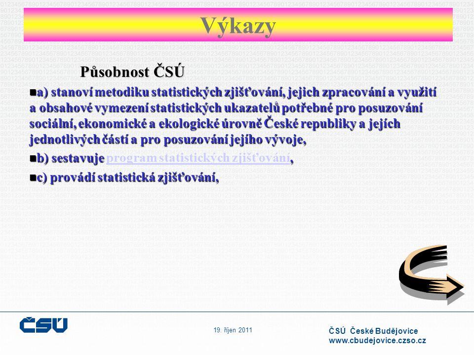 19. říjen 2011 ČSÚ České Budějovice www.cbudejovice.czso.cz Působnost ČSÚ a) stanoví metodiku statistických zjišťování, jejich zpracování a využití a