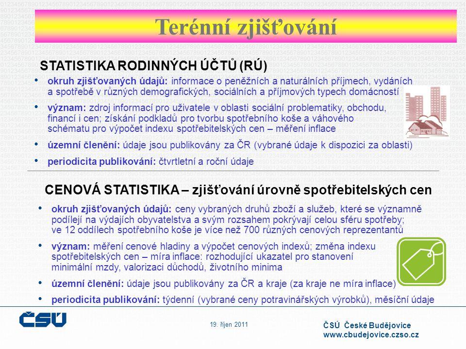 19. říjen 2011 ČSÚ České Budějovice www.cbudejovice.czso.cz STATISTIKA RODINNÝCH ÚČTŮ (RÚ) CENOVÁ STATISTIKA – zjišťování úrovně spotřebitelských cen