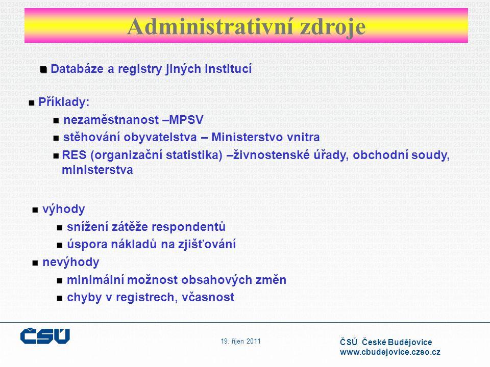 19. říjen 2011 ČSÚ České Budějovice www.cbudejovice.czso.cz Administrativní zdroje Databáze a registry jiných institucí Příklady: nezaměstnanost –MPSV