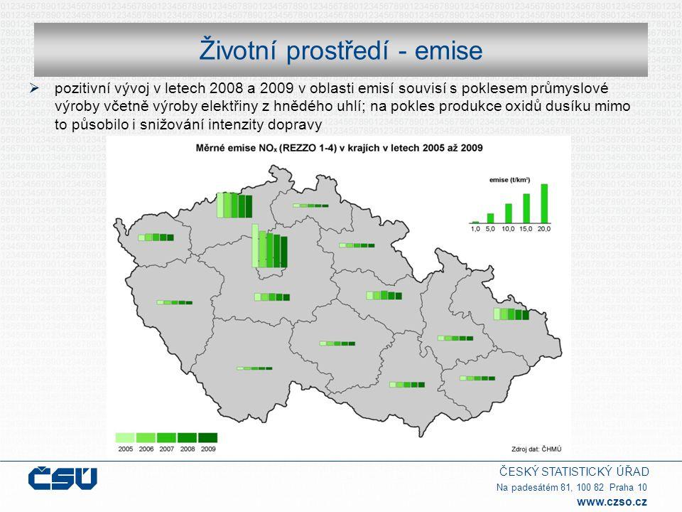 ČESKÝ STATISTICKÝ ÚŘAD Na padesátém 81, 100 82 Praha 10 www.czso.cz Životní prostředí - emise  pozitivní vývoj v letech 2008 a 2009 v oblasti emisí s