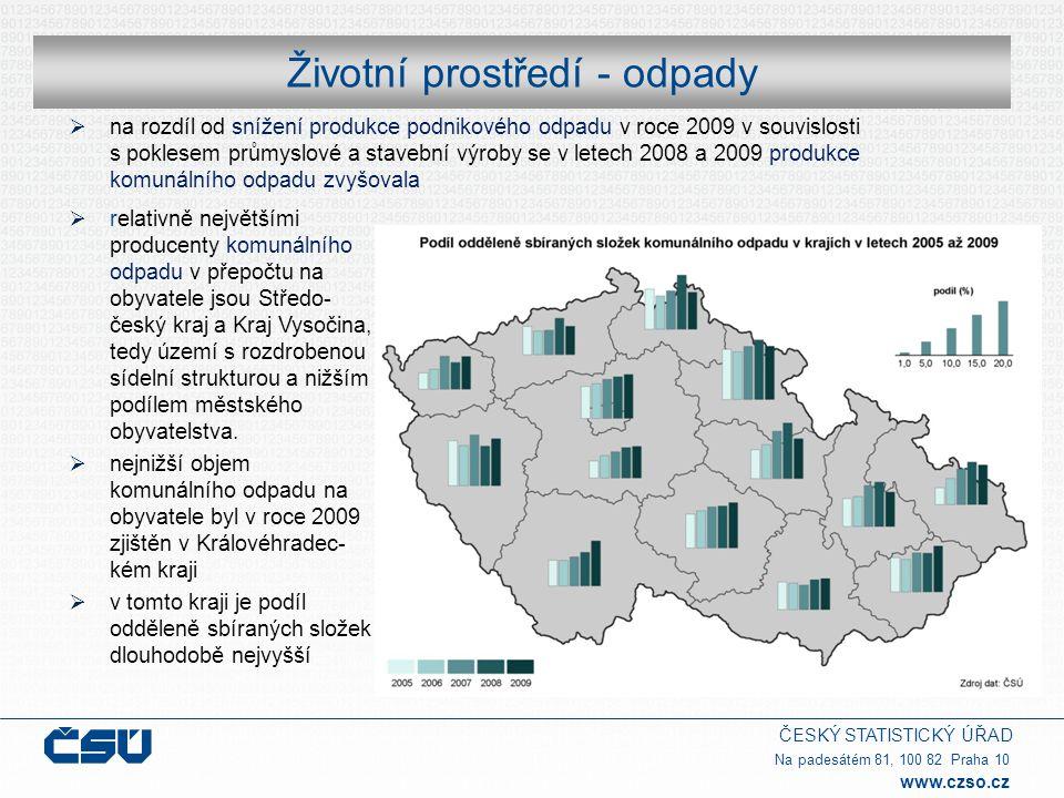 ČESKÝ STATISTICKÝ ÚŘAD Na padesátém 81, 100 82 Praha 10 www.czso.cz Životní prostředí - odpady  na rozdíl od snížení produkce podnikového odpadu v ro