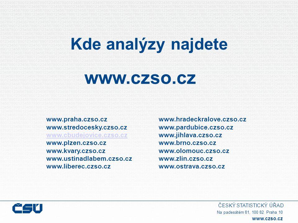 ČESKÝ STATISTICKÝ ÚŘAD Na padesátém 81, 100 82 Praha 10 www.czso.cz Kde analýzy najdete www.czso.cz www.praha.czso.cz www.stredocesky.czso.cz www.cbud