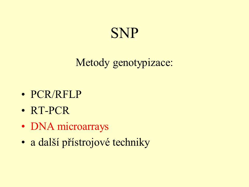 SNP Metody genotypizace: PCR/RFLP RT-PCR DNA microarrays a další přístrojové techniky
