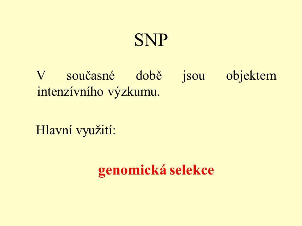 SNP V současné době jsou objektem intenzívního výzkumu. Hlavní využití: genomická selekce