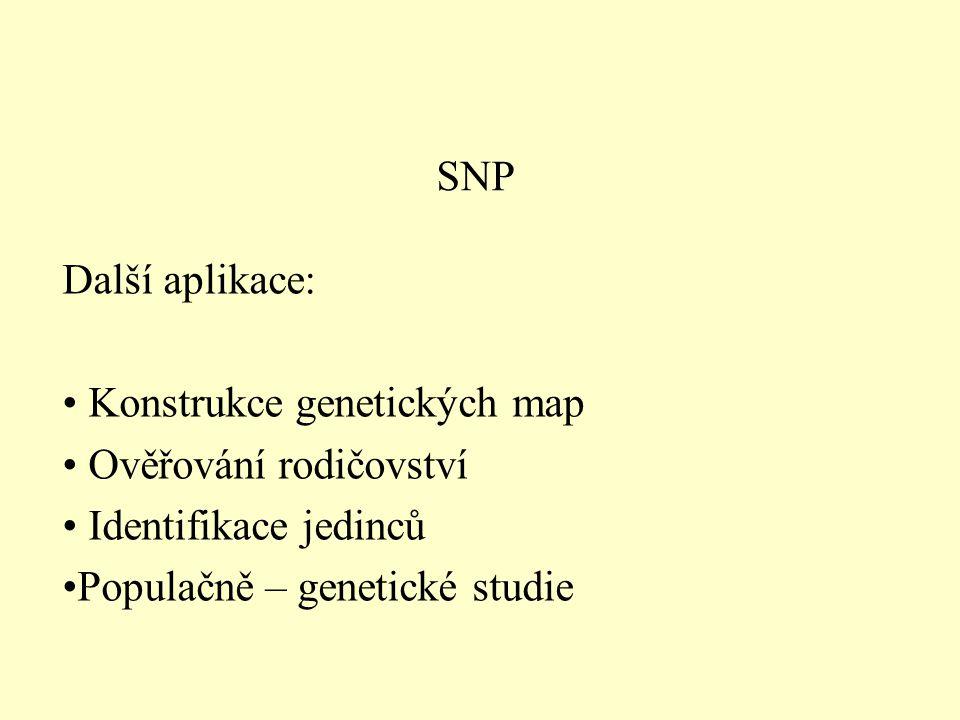 SNP Další aplikace: Konstrukce genetických map Ověřování rodičovství Identifikace jedinců Populačně – genetické studie