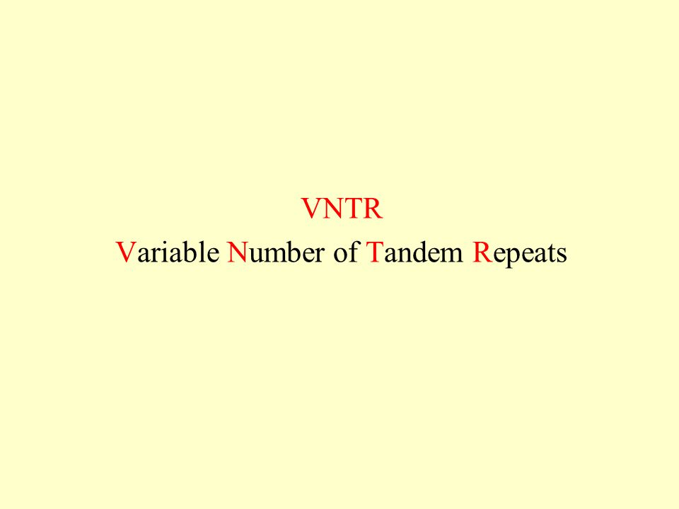 VNTR Variable Number of Tandem Repeats