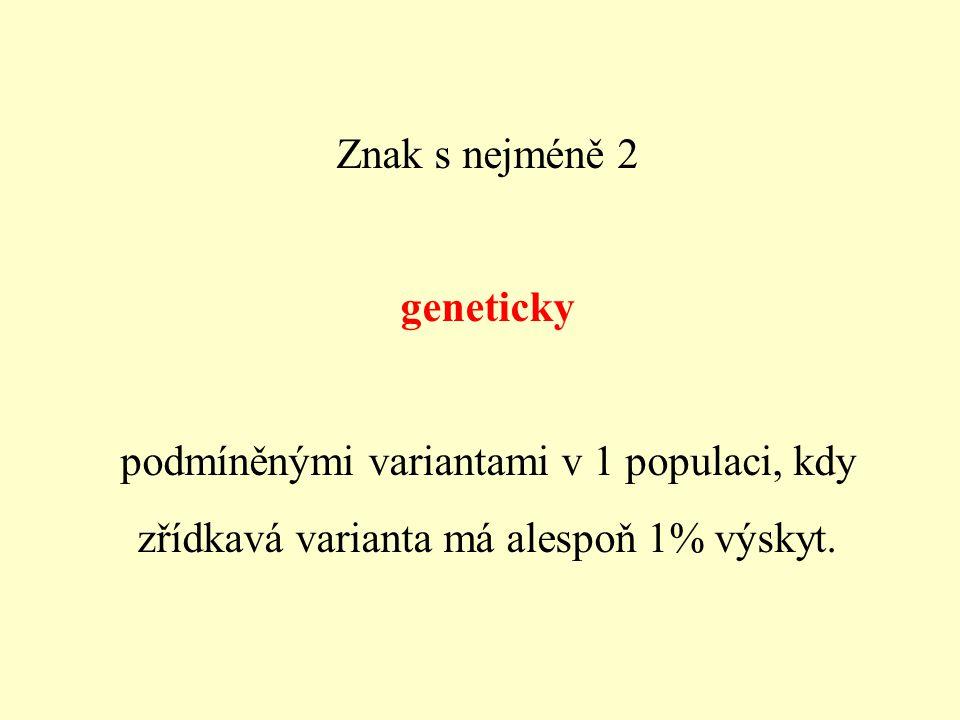 Do polymorfismu nepatří: - znaky, jejichž variabilita není podmíněna geneticky - znaky se zřídkavým výskytem (např.