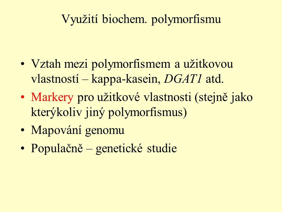 Vztah mezi polymorfismem a užitkovou vlastností – kappa-kasein, DGAT1 atd.