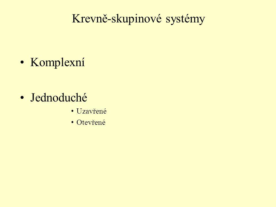 Komplexní Jednoduché Uzavřené Otevřené Krevně-skupinové systémy