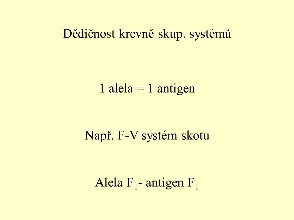 Dědičnost krevně skup. systémů 1 alela = 1 antigen Např. F-V systém skotu Alela F 1 - antigen F 1