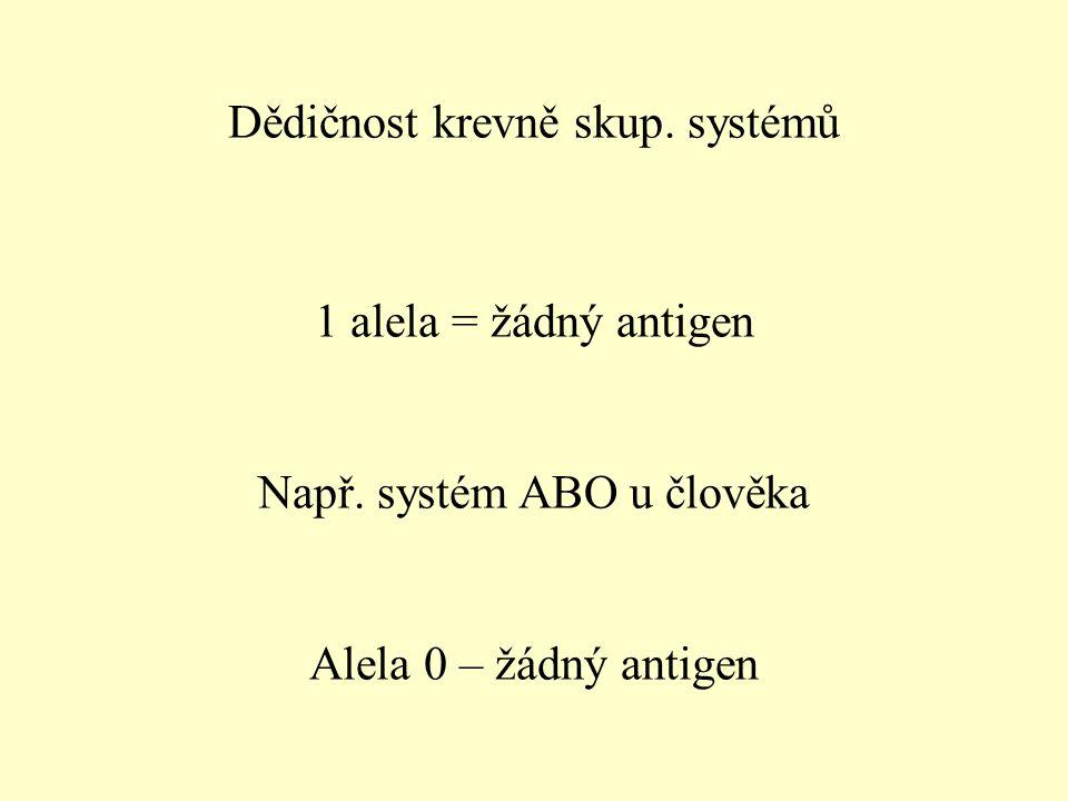 Dědičnost krevně skup.systémů 1 alela = žádný antigen Např.