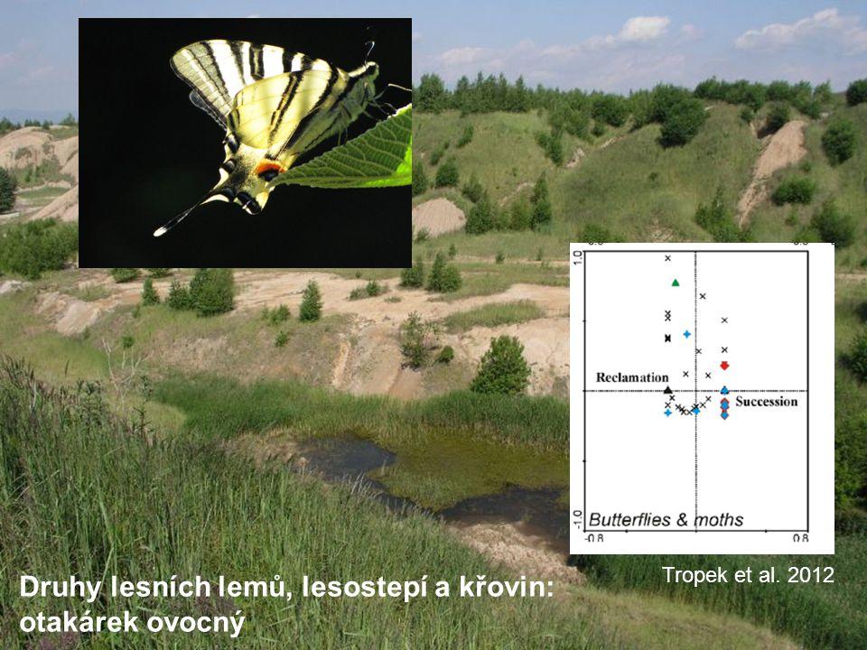 Druhy lesních lemů, lesostepí a křovin: otakárek ovocný Tropek et al. 2012