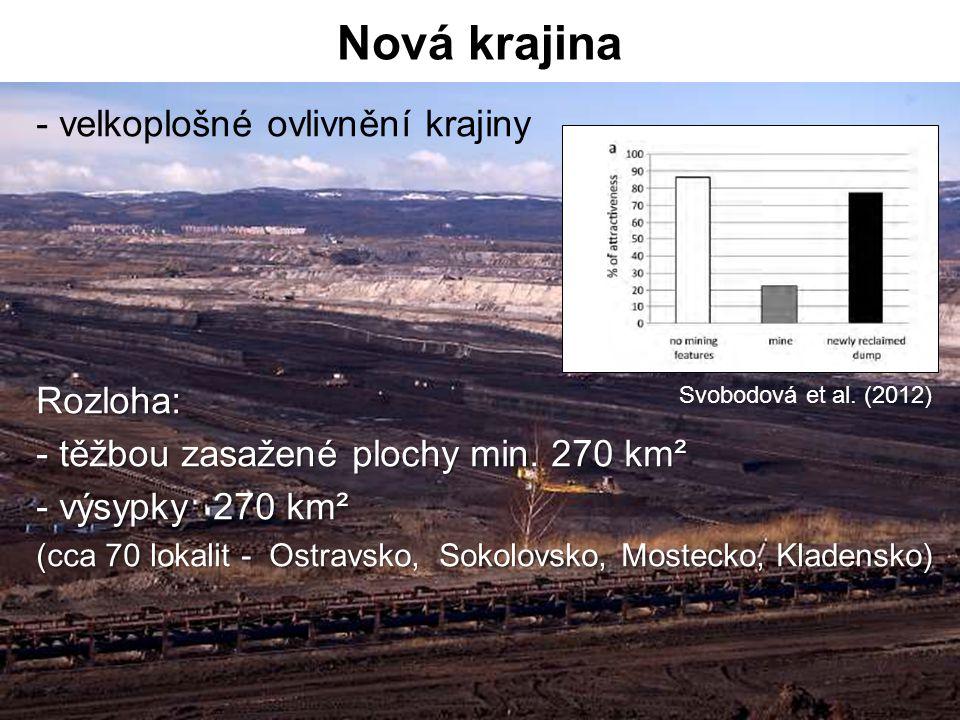 - velkoplošné ovlivnění krajinyRozloha: - těžbou zasažené plochy min. 270 km² - výsypky 270 km² (cca 70 lokalit - Ostravsko, Sokolovsko, Mostecko, Kla