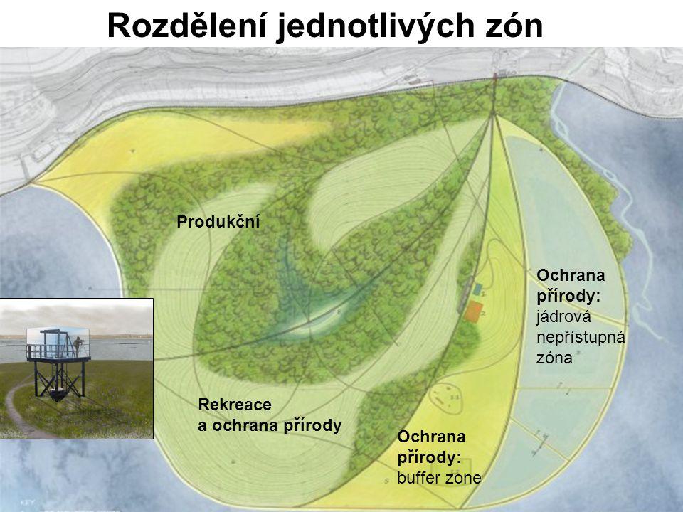 Rozdělení jednotlivých zón Ochrana přírody: jádrová nepřístupná zóna Ochrana přírody: buffer zone Rekreace a ochrana přírody Produkční