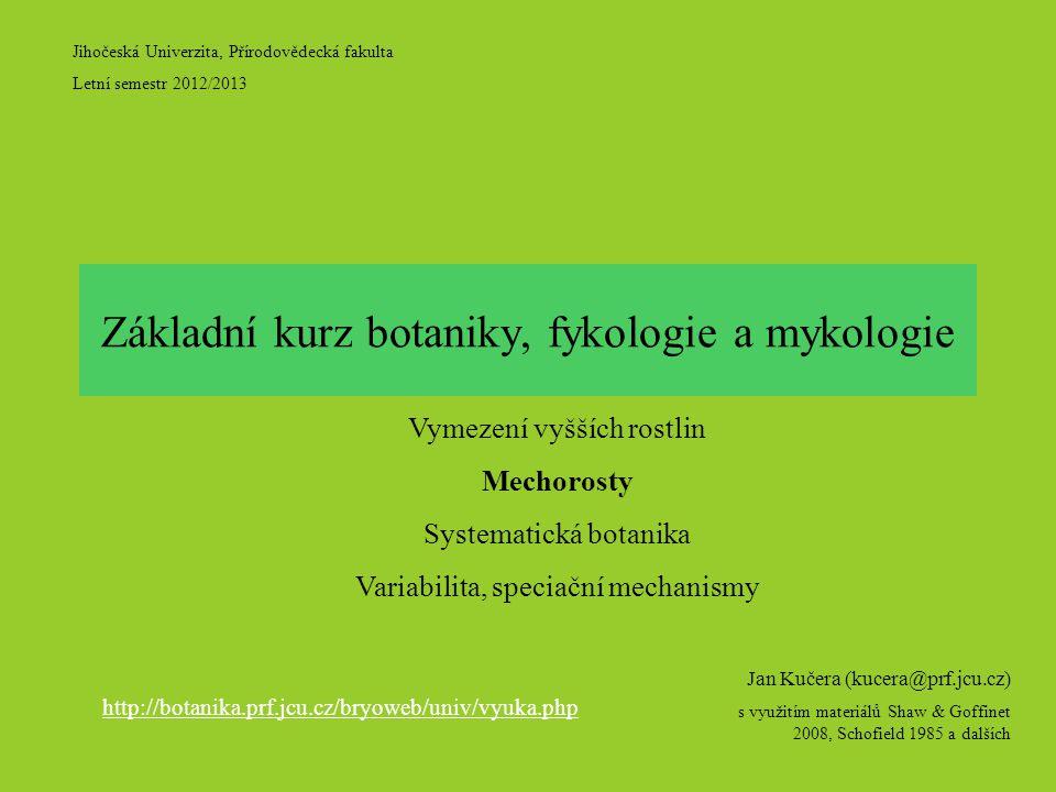 Jihočeská Univerzita, Přírodovědecká fakulta Letní semestr 2012/2013 Jan Kučera (kucera@prf.jcu.cz) s využitím materiálů Shaw & Goffinet 2008, Schofield 1985 a dalších Základní kurz botaniky, fykologie a mykologie Vymezení vyšších rostlin Mechorosty Systematická botanika Variabilita, speciační mechanismy http://botanika.prf.jcu.cz/bryoweb/univ/vyuka.php