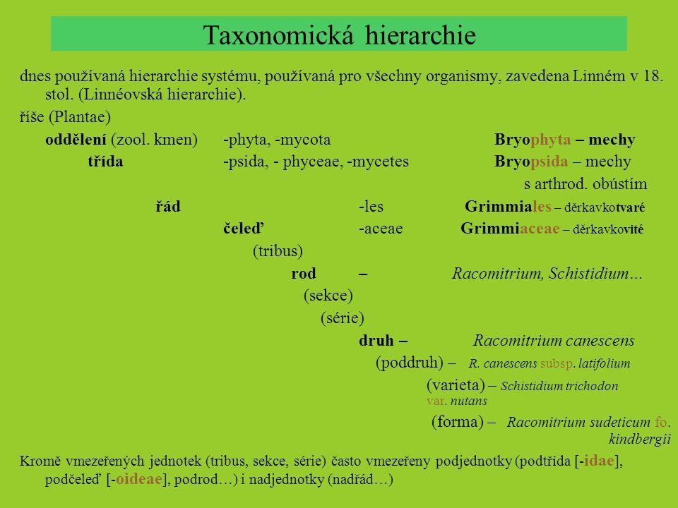Taxonomická hierarchie dnes používaná hierarchie systému, používaná pro všechny organismy, zavedena Linném v 18. stol. (Linnéovská hierarchie). říše (