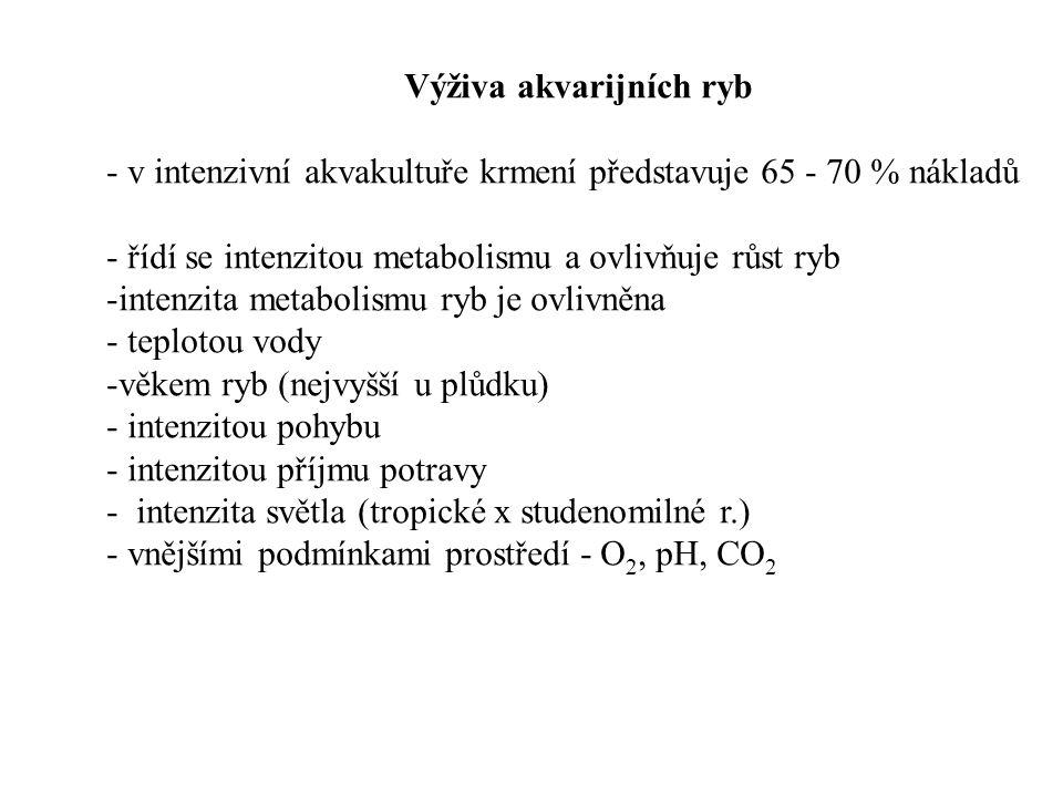 Výživa akvarijních ryb - v intenzivní akvakultuře krmení představuje 65 - 70 % nákladů - řídí se intenzitou metabolismu a ovlivňuje růst ryb -intenzita metabolismu ryb je ovlivněna - teplotou vody -věkem ryb (nejvyšší u plůdku) - intenzitou pohybu - intenzitou příjmu potravy - intenzita světla (tropické x studenomilné r.) - vnějšími podmínkami prostředí - O 2, pH, CO 2