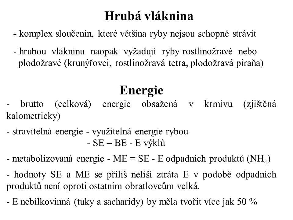 Hrubá vláknina - komplex sloučenin, které většina ryby nejsou schopné strávit - hrubou vlákninu naopak vyžadují ryby rostlinožravé nebo plodožravé (krunýřovci, rostlinožravá tetra, plodožravá piraňa) Energie - brutto (celková) energie obsažená v krmivu (zjištěná kalometricky) - stravitelná energie - využitelná energie rybou - SE = BE - E výklů - metabolizovaná energie - ME = SE - E odpadních produktů (NH 4 ) - hodnoty SE a ME se příliš neliší ztráta E v podobě odpadních produktů není oproti ostatním obratlovcům velká.