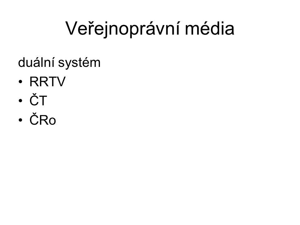 Veřejnoprávní média duální systém RRTV ČT ČRo