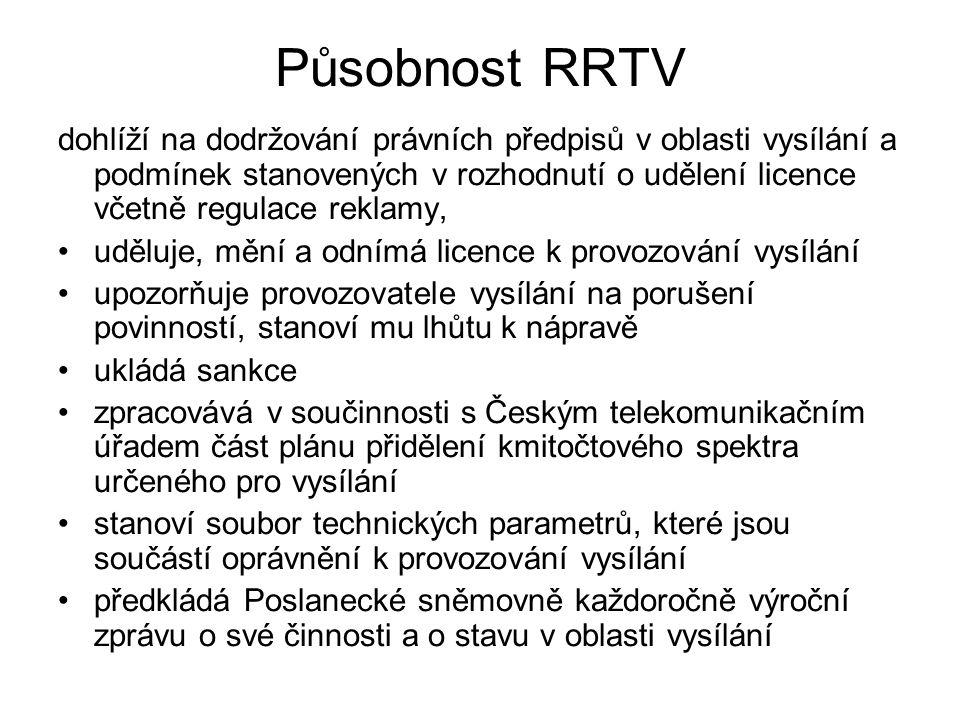Působnost RRTV dohlíží na dodržování právních předpisů v oblasti vysílání a podmínek stanovených v rozhodnutí o udělení licence včetně regulace reklam