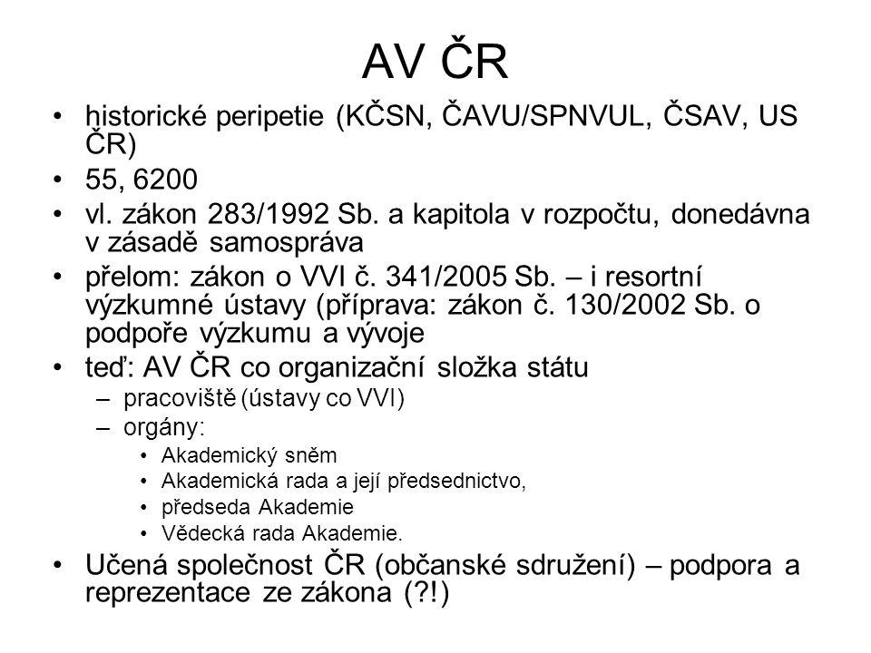 AV ČR historické peripetie (KČSN, ČAVU/SPNVUL, ČSAV, US ČR) 55, 6200 vl. zákon 283/1992 Sb. a kapitola v rozpočtu, donedávna v zásadě samospráva přelo