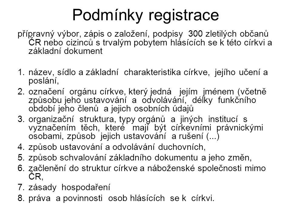 Podmínky registrace přípravný výbor, zápis o založení, podpisy 300 zletilých občanů ČR nebo cizinců s trvalým pobytem hlásících se k této církvi a zák