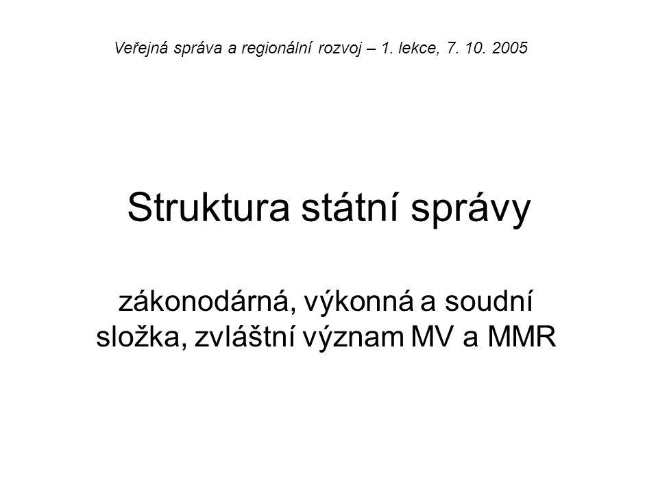 Struktura státní správy zákonodárná, výkonná a soudní složka, zvláštní význam MV a MMR Veřejná správa a regionální rozvoj – 1. lekce, 7. 10. 2005